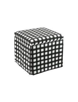 Anne Skirted Storage Ottoman, Black Gingham by One Kings Lane