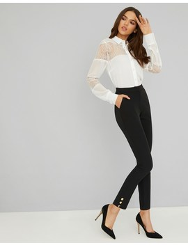 Lipsy Tailored Skinny Button Detail Trousers by Lipsy