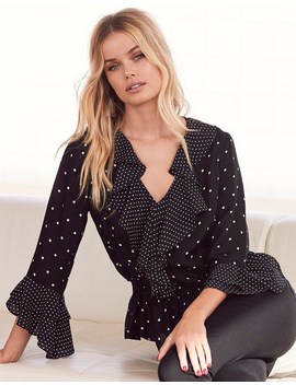Lipsy Satin Polka Dot Frill Blouse by Lipsy