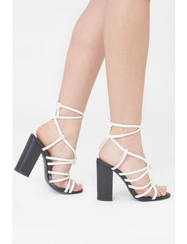 Strappy Knotted Heel Sandal With Toe Post by Lavish Alice
