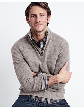 Men's Washable Cashmere Zip Neck Sweater by Garnet Hill