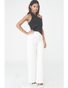Monochrome Halterneck Jumpsuit by Lavish Alice