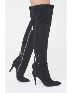 Suede Over The Knee Boots With Lace Up Detail by Lavish Alice