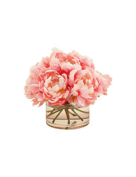"""10"""" Peonies In Cylinder Vase, Faux by [""""The French Bee""""]"""