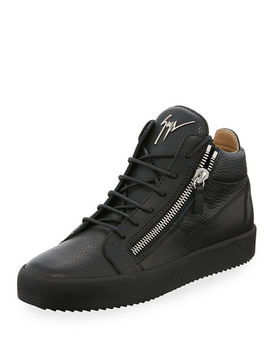 mens-textured-leather-mid-top-sneakers by giuseppe-zanotti