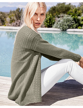 New Pointelle Cashmere Seamed Cardigan by Garnet Hill