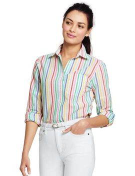 Women's Cotton Linen Roll Sleeve Shirt by Lands' End