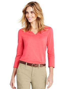 Women's 3/4 Sleeve Henley by Lands' End