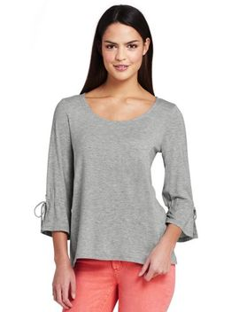 Women's 3/4 Sleeve Tie Sleeve Top by Lands' End