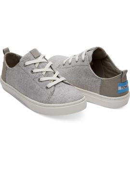 Drizzle Grey Slub Chambray Youth Lenny Sneakers by Toms