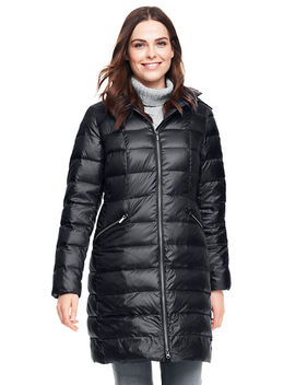 Women's Petite Lightweight Down Hooded Coat by Lands' End