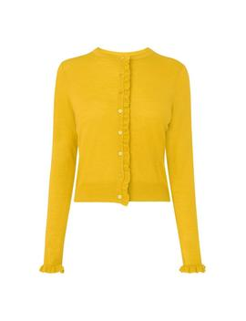 Marthe Yellow Ruffle Cardigan by L.K.Bennett