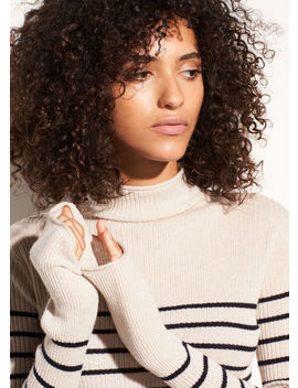Striped Roll Edge Cashmere Mock Neck by Vince