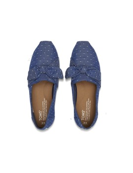 Imperial Blue Chambray Dot Women's Bow Classics by Toms