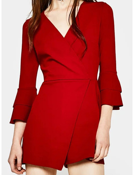 Red V Neck Wrap Front Flare Sleeve Romper Playsuit by Choies
