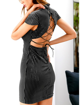 Black High Neck Open Back Lace Up Cap Sleeve Bodycon Mini Dress by Choies