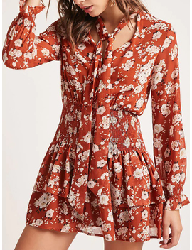 Polychrome Floral Tie Neck Long Sleeve Layered Mini Dress by Choies