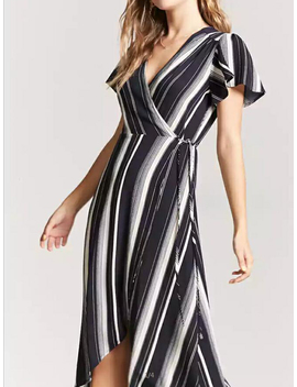 Black Stripe V Neck Tie Waist Hi Lo Dress by Choies
