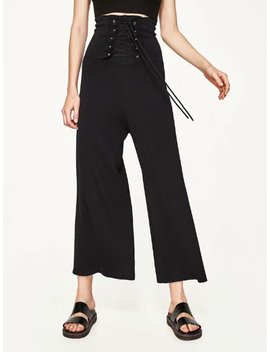 Black Lace Up High Waist Wide Leg Palazzo Pants by Choies