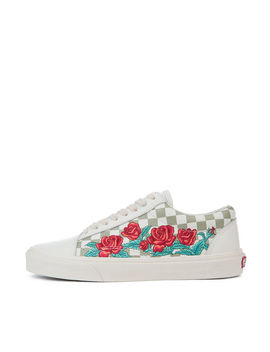 The Old Skool Dx Rose Embroidery In Marshmallow And Turtle Dove by Vans