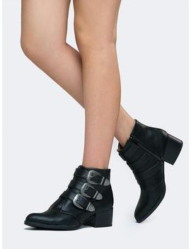 Low Heel Buckle Bootie by Zooshoo