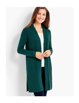 Long Mixed Texture Cardigan by Talbots