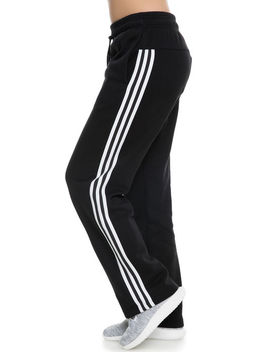 The Women's Co Fl 3 Stripes Open Hem Pant In Black And White by Adidas