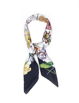 Final Sale: Classic Flora Infinity Print Silk Square Scarf   Black / Multi by Gucci