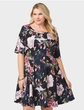 Plus Size Seamed Floral Scuba Dress by Dressbarn