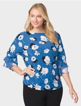Roz&Ali Plus Size Tiered Bell Sleeve Flower Top by Dressbarn