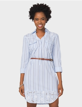 Petite Embroidered Striped Shirt Dress by Dressbarn