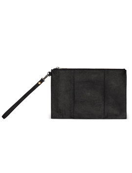 Black Distressed Leather Party Pouch by Toms
