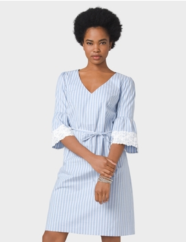 Belted Striped Lace Sleeve Dress by Dressbarn