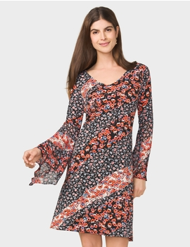 Floral Print Bell Sleeve Dress by Dressbarn
