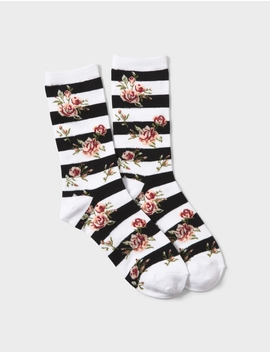 Striped Floral Socks by Dressbarn