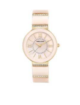 Gold Tone Blush Ceramic Crystal Watch by Anne Klein