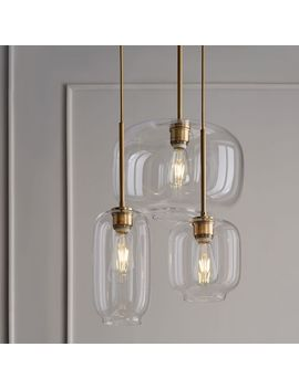 Sculptural Glass Pebble 3 Light Chandelier   Mixed (Clear) by West Elm