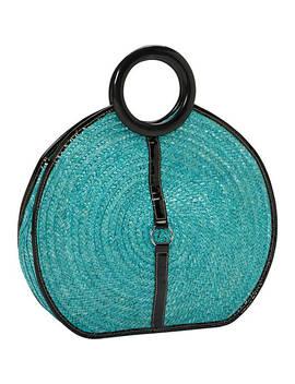Milan Straw Top Handle Bracelet Round Bag by Magid