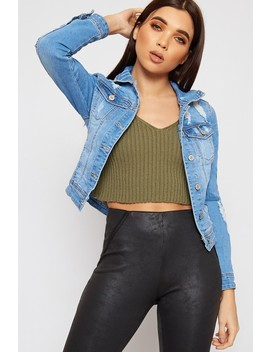 Peyton Cropped Distressed Classic Denim Jacket by Wear All