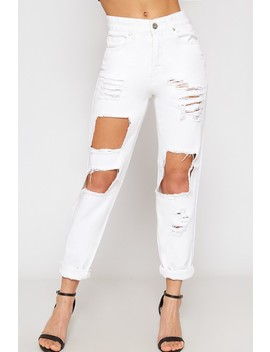 Harper Extreme Ripped High Waisted Denim Mom Jeans by Wear All