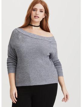 Grey Off Shoulder Pullover Sweater by Torrid