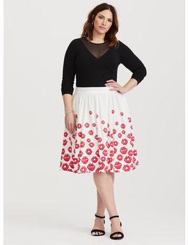 Betty Boop Red & White Lips Midi Skirt by Torrid