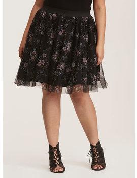 Black & Multi Color Floral Print Tulle Mini Skirt by Torrid