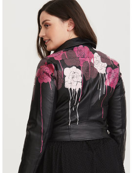 Runway Collection   Limited Edition Faux Leather Hand Painted Rose Moto Jacket by Torrid