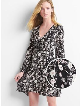 Floral Long Sleeve Fit And Flare Dress by Gap