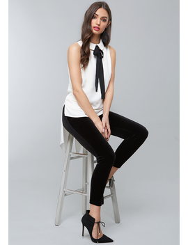 Ribbon Tie Neck Top by Bebe