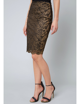 Gold Foil Lace Skirt by Bebe