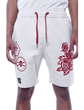 The Wake Embroidered Shorts In Cream by 8&Amp;9 Clothing