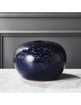 Atoll Round Navy Blue Vase by Crate&Barrel