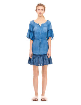 La Vie Patched Tissue Denim Shirtdress by Rebecca Taylor